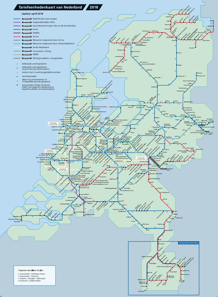 Tariefeenhedenkaart Nederlandse Spoorwegen